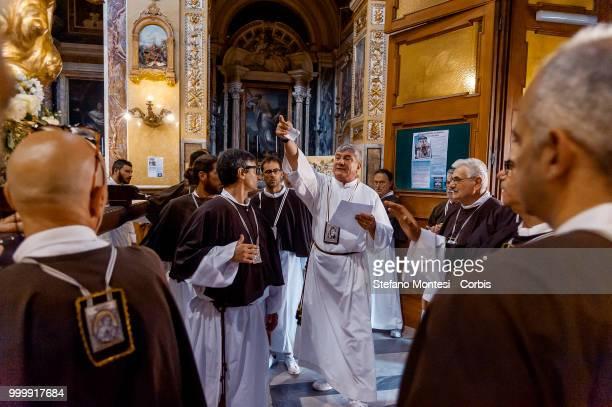 Solemn Celebration and processions in honor of Madonna del Carmine in the Rione Borgo at Via della Conciliazione on July 15 2018 in Rome Italy The...