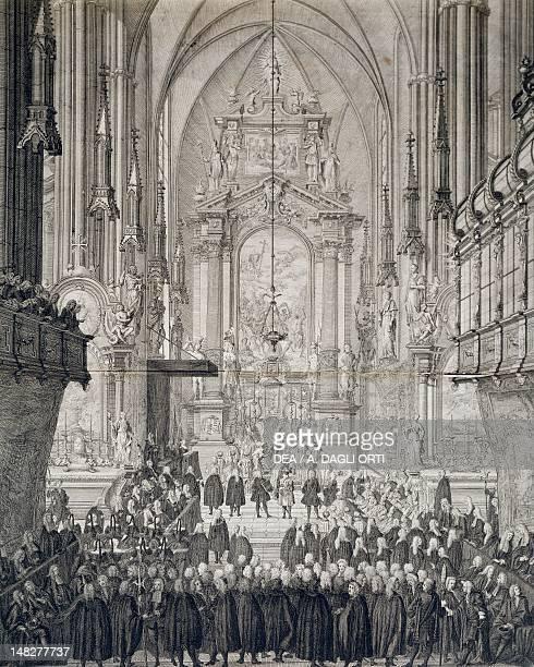 Solemn ceremony in St Stephen's Cathedral in Vienna engraving Austria 18th century Vienna Historisches Museum Der Stadt Wien