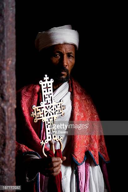solemn ethiopian priest - religious role stock photos and pictures