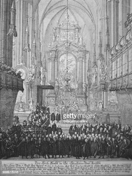 Solemn Mass or High Mass in St Stephen's Cathedral Stephansdom Vienna Austria with Maria Theresa photo or illustration published 1892 digital improved