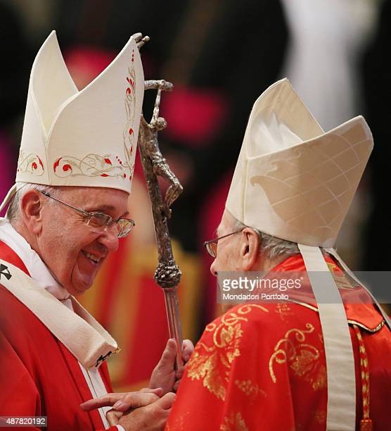 Solemnity of Saints Peter and Paul Pope Francis celebrates the Holy Mass The Pope speaks with the Cardinal Roger Etchegaray St Peter's Basilic 29th...