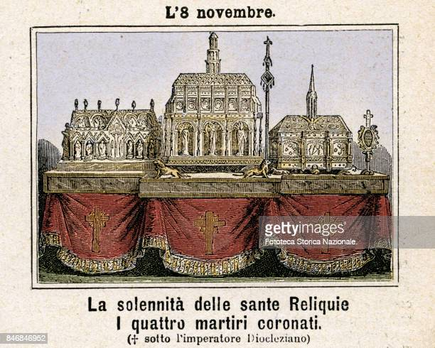 Solemnity of the holy relics Commemoration on 8 November Colored engraving from Diodore Rahoult Italy 1886