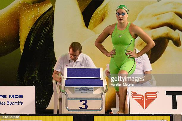 Solene Gallego of France prepares to compete in the 100m Women's breaststroke on day two of the French National Swimming Championships on March 30...