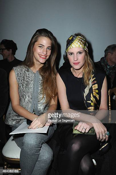 Solene Hebert and Juliette Maillot attend the Giambattista Valli show as part of Paris Fashion Week Haute Couture Spring/Summer 2014 on January 20...