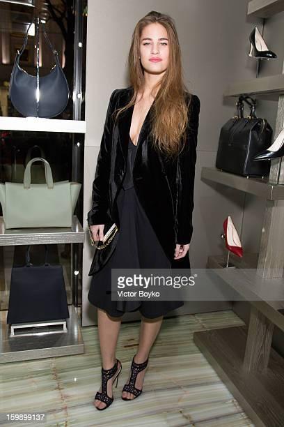 Solene Hebert attends the Giorgio Armani Paris avenue Montaigne boutique opening on January 22 2013 in Paris France