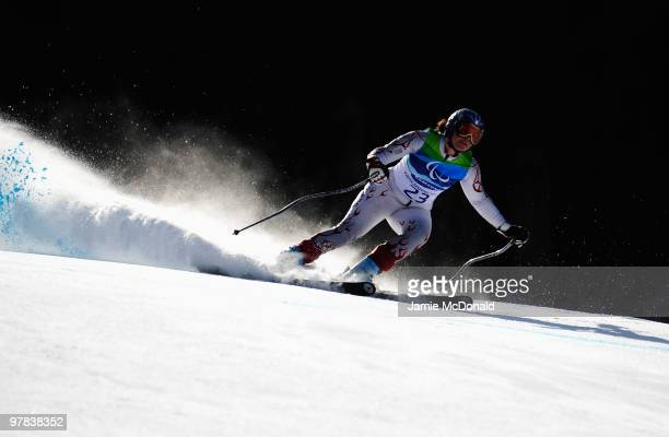 Solene Jambaque of France competes in the Women's Standing Downhill during Day 7 of the 2010 Vancouver Winter Paralympics at Whistler Creekside on...