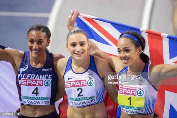 Solene Ndama of France Niamh Emerson of Great Britain and Katarina JohnsonThompson of Great Britain compete in the 800m event of the women's...