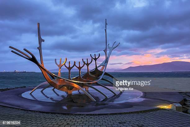 Solfar (Sun Voyager) Viking Sculpture at sunrise, Reykjavik, Iceland