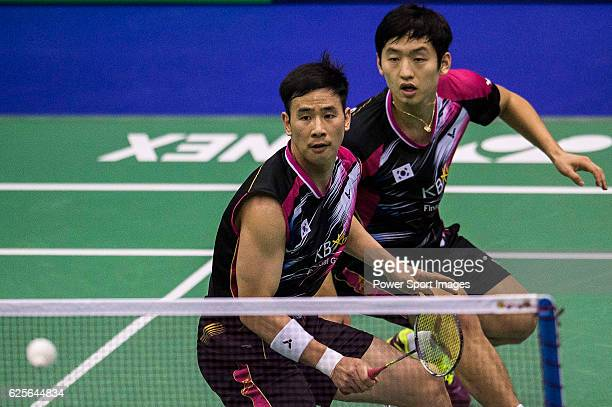 Solgyu Choi Ko Sung Hyun of Koren compete against vs Hiroyuki Endo Yuta Watanabe of Japan during the YONEXSUNRISE Hong Kong Open Badminton...