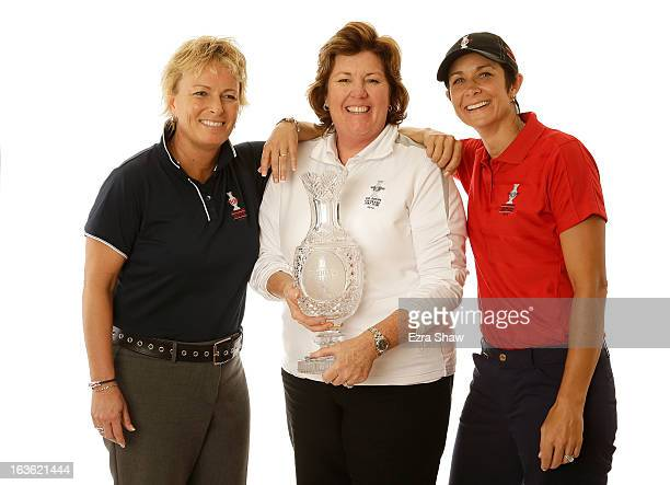 Solheim Cup captain Meg Mallon poses with assistant captains Dottie Pepper and Laura Diaz pose for a portrait prior to the start of the RR Donnelley...
