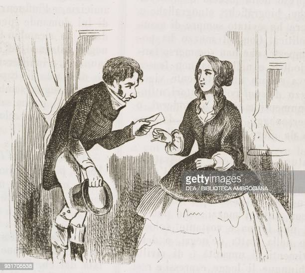 Soliciting for homes in London ladies looking for accommodation cartoon England United Kingdom engraving from L'album giornale letterario e di belle...