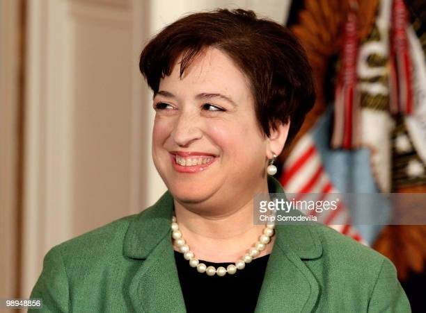 Solicitor General Elena Kagan smiles after U.S. President Barack Obama announced her as his choice to be the nation's 112th Supreme Court justice...