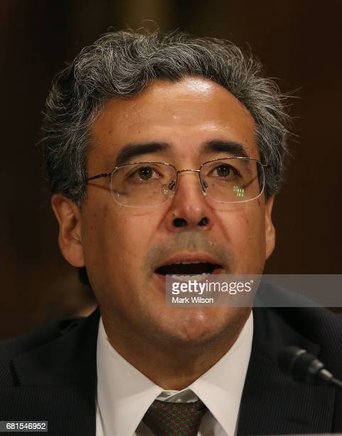 Solicitor General nominee Noel Francisco speaks during his Senate Judiciary Committee confirmation hearing on Capitol Hill on May 10 2017 in...
