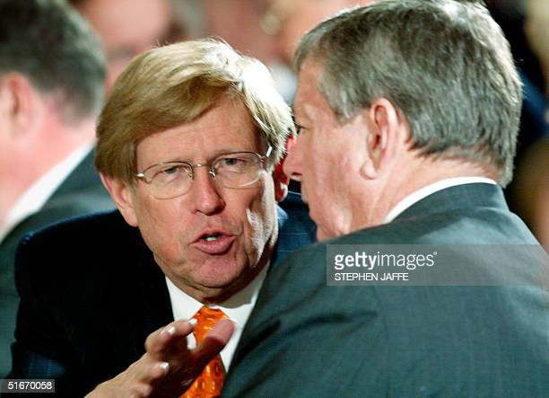 Solicitor General Theodore Olson talks with US Attorney General John Ashcroft prior to US President George W Bush calling on the US Senate and the...