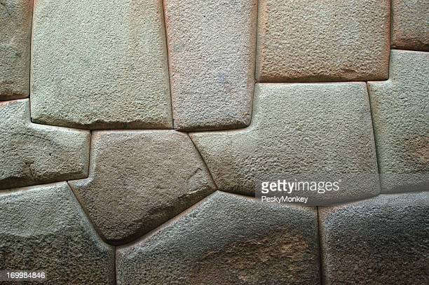 Solid Carved Stone Wall Background Sacsayhuaman Cuzco Peru
