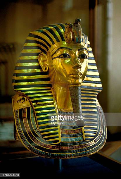 Solid gold death mask found on the mummy of Tut Ankh Amun on display at the Egyptian Museum in Cairo Egypt New Kingdom dynasties