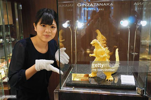 A solid gold Godzilla made by the fine jeweler GINZA TANAKA is on display on September 3 2014 in Fukuoka Japan Japanese fine jeweler Ginza Tanaka has...