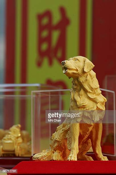 A solid gold Golden Retriever is displayed at a jewelry shop on January 31 2006 in Hong Kong China Hong Kong resident continue to celebrate the...