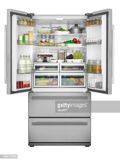 solid open refrigerator - refrigerator stock pictures, royalty-free photos & images