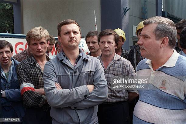 Solidarity trade union movement leader Lech Walesa addresses the striking workers of naval worksite ''Commune de Paris'' in the Gdynia shipyard on...
