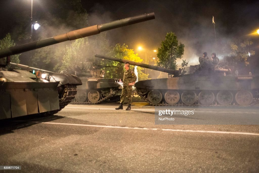 Solider during night training before parade on Polish Army Day in Warsaw on August 12, 2017.