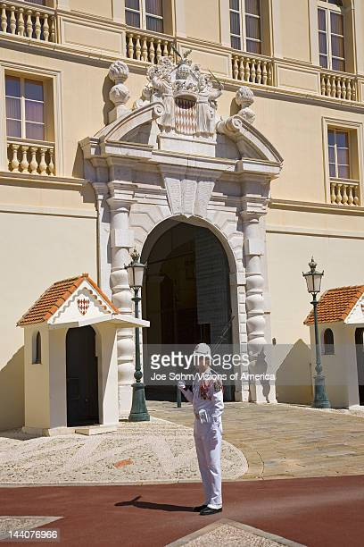 Solider standing guard in front of Palais du Prince or Prince's Palace in MonteCarlo the Principality of Monaco Western Europe on the Mediterranean...