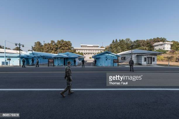 Soliders at the Joint Security Area conference buildings between South and North Korea 2017