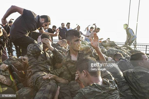 Soliders involved in the coup attempt surrender on Bosphorus bridge on July 16 2016 in Istanbul Turkey Istanbul's bridges across the Bosphorus the...