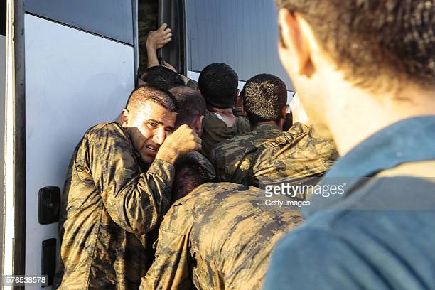Soliders involved in the coup attempt surrender on Bosphorus bridge on July 16 2016 in Instabul Turkey Istanbul's bridges across the Bosphorus the...