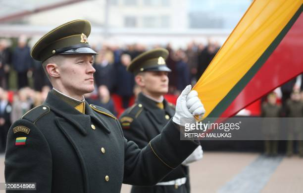 Soliders parade to mark the 30th anniversary of Lithuania's independence from the Soviet Union in Vilnius, Lithuania on March 11, 2020.