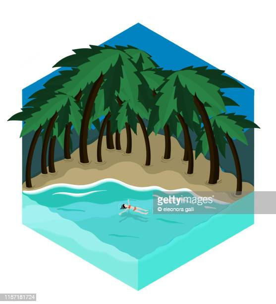 solitary beach - isometric projection stock photos and pictures