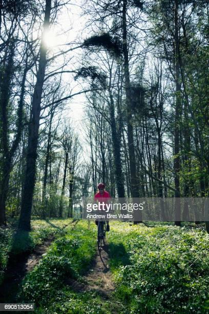 solitary female cyclist rides along a woodland trail - norte de yorkshire - fotografias e filmes do acervo