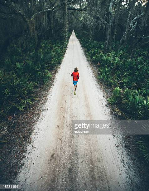 solitary male runs under trees on road at sunset - cross country running stock pictures, royalty-free photos & images