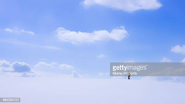 solitary man snowshoeing under big sky - murray mccomb stock pictures, royalty-free photos & images
