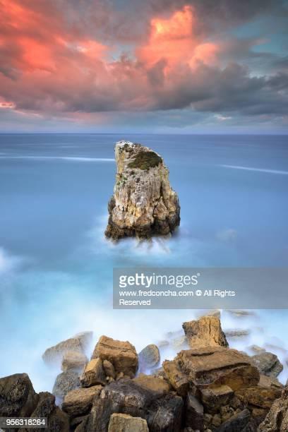 Solitary Rock located at Peniche coastline in Portugal
