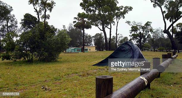 A solitary sodden wind blown tent sits at Bonnie Vale camping ground in the Royal National Park near Bundeena on 23 March 2005 Popular spots are...