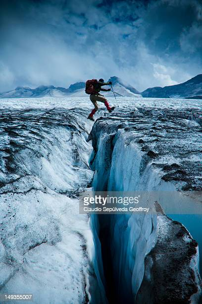 sollipulli glacier - crevasse stock photos and pictures