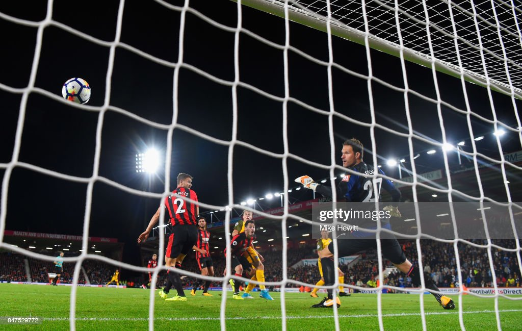 Solly March of Brighton and Hove Albion (C) beats goalkeeper Asmir Begovic of AFC Bournemouth to score their first goal during the Premier League match between AFC Bournemouth and Brighton and Hove Albion at Vitality Stadium on September 15, 2017 in Bournemouth, England.