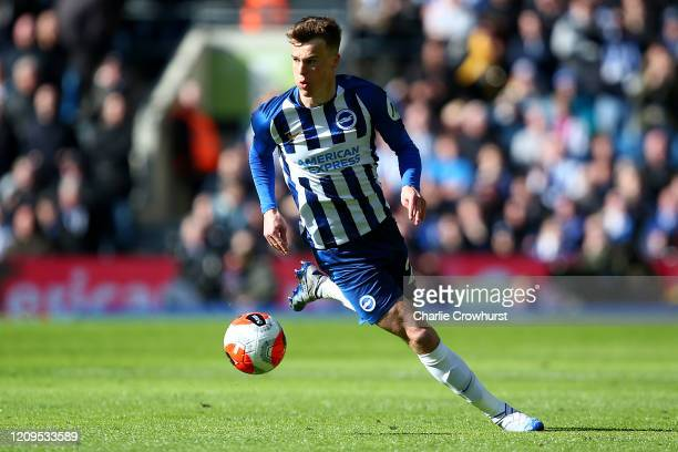 Solly March of Brighton attacks during the Premier League match between Brighton Hove Albion and Crystal Palace at American Express Community Stadium...