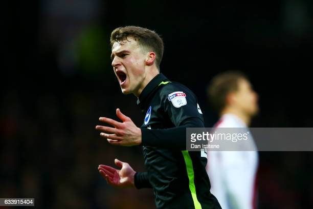 Solly March of Brighton Hove Albion celebrates after scoring his team's first goal during the Sky Bet Championship match between Brentford and...