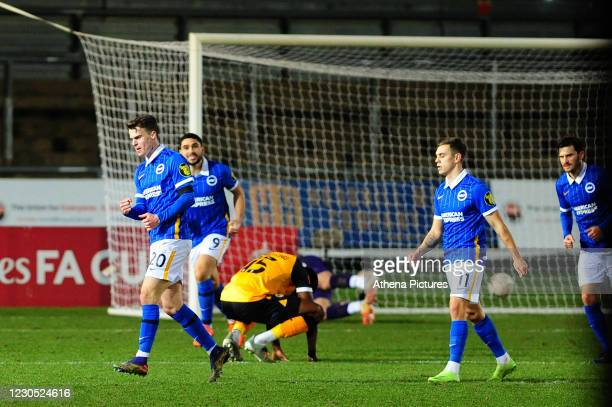 Solly March of Brighton & Hove Albion celebrates scoring the opening goal during the FA Cup Third Round match between Newport County and Brighton And...