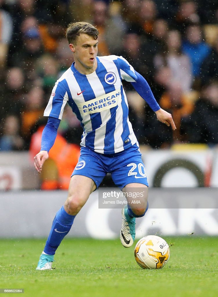 Solly March of Brighton & Hove Albion during the Sky Bet Championship match between Wolverhampton Wanderers and Brighton & Hove Albion at Molineux on April 15, 2017 in Wolverhampton, England.