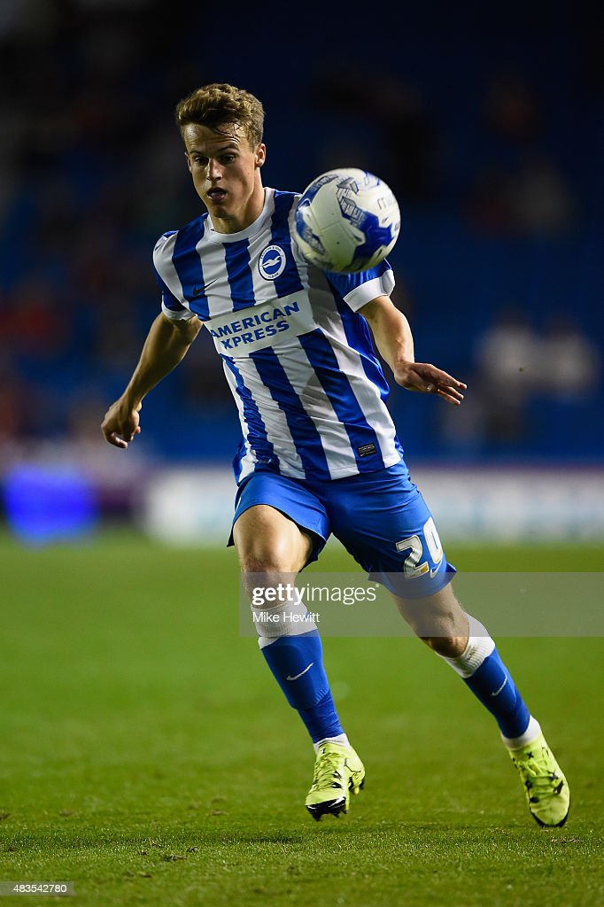 Solly March of Brighton in action during the Sky Bet Championship match between Brighton & Hove Albion and Nottingham Forest at Amex Stadium on August 7, 2015 in Brighton, England.