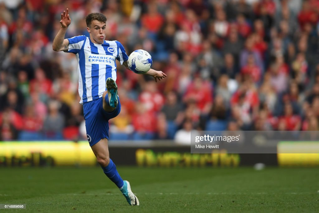 Solly March of Brighton in action during the Sky Bet Championship match between Brighton & Hove Albion and Bristol City at Amex Stadium on April 29, 2017 in Brighton, England.