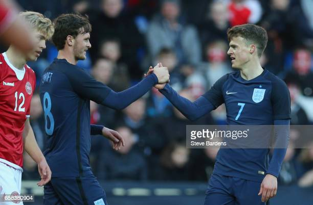 Solly March of England celebrates as scores their second goal with with John Swift during the U21 international friendly match between Denmark and...