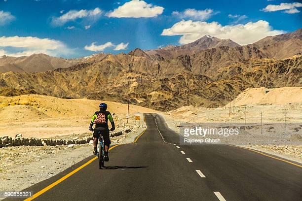 Solo biker on Ladakh highway