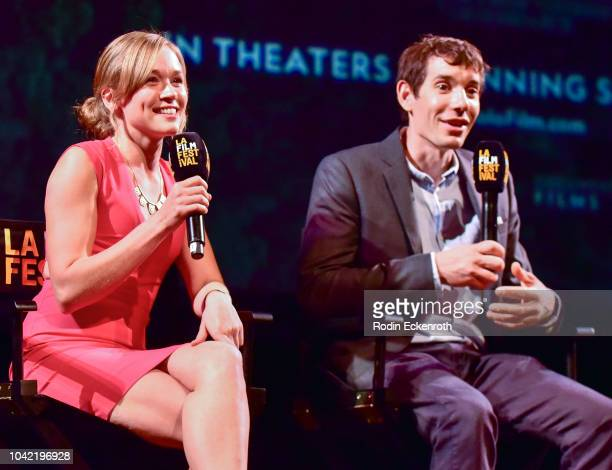 Solo climber Alex Honnold and Sanni McCandless speak onstage at the 2018 LA Film Festival Gala Screening Of Free Solo at Wallis Annenberg Center for...