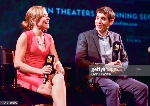 Solo climber Alex Honnold and Sanni McCandless speak onstage at the 2018 LA Film Festival Gala Screening Of 'Free Solo' at Wallis Annenberg Center...