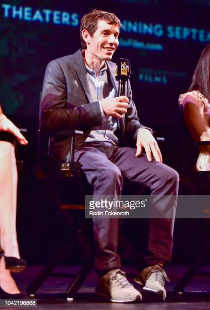 Solo climber Alex Honnold speaks onstage at the 2018 LA Film Festival Gala Screening Of Free Solo at Wallis Annenberg Center for the Performing Arts...