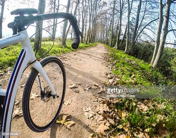 Solo cyclist's handlebars side view